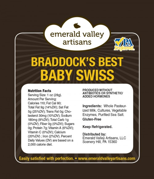 Braddocks Best Baby Swiss Label